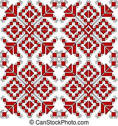fundo, sobre, pretas, ornamentos, étnico, branco vermelho