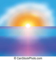 fundo, sol, luminoso, vetorial, mar, amanhecer