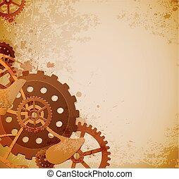 fundo, steampunk, engrenagens