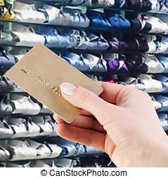 fundo, supermercado, mão, crédito, segurando, cartão