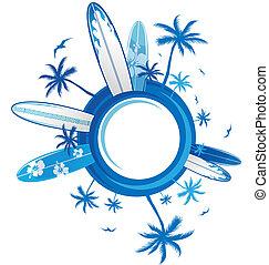 fundo, surfar, círculo