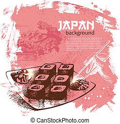 fundo, sushi, vindima, mão, desenhado, japoneses