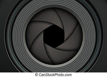 fundo, tecnologia, câmera, shutter., lente