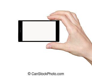 fundo, tela, isolado, mão, telefone, segurando, toque, branca, vazio