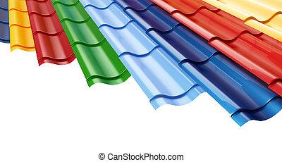 fundo, telhado azulejo, branca, cor, metal
