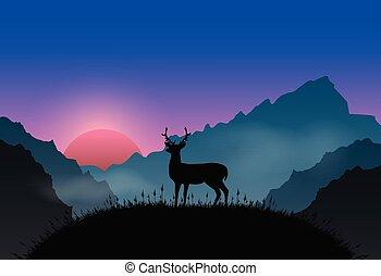 fundo, veado, paisagem, ficar, planalto, ponto, natureza