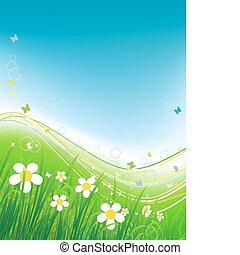fundo, verão, campo verde, borboletas