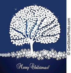 fundo, vetorial, árvore, neve, cartão
