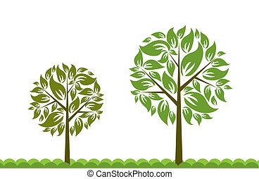 fundo, vetorial, árvore