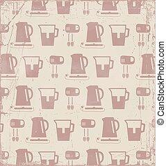 fundo, vetorial, pattern., retro, cozinha