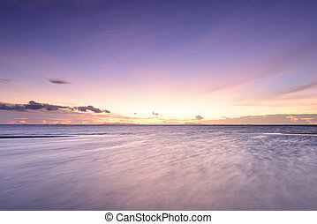 fundo, vindima, praia, céu, anoitecer