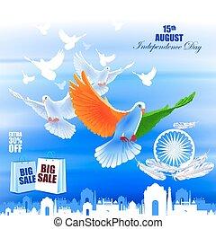 fundo, voando, indianas, anúncio, pomba, dia, independência, celebração