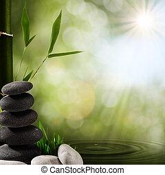 fundos, chuva, oriental, foliage, spa, bambu, gotas