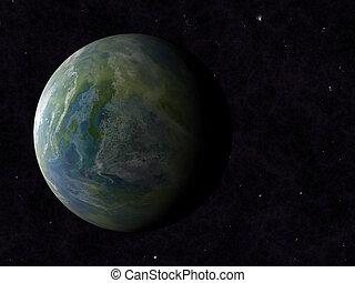 fundos, planet., céu, um, terra, cosmos, sombra, lado
