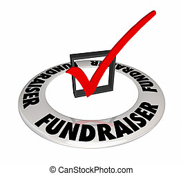 Fundraiser Check Box Mark Raise Money Non-Profit 3d...