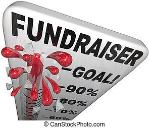 fundraiser, termómetro, pistas, meta, alcanzado, éxito
