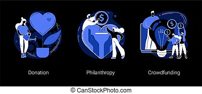 Fundraising abstract concept vector illustrations.