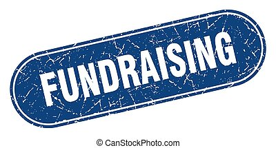 fundraising, cégtábla., grunge, kék, stamp., címke