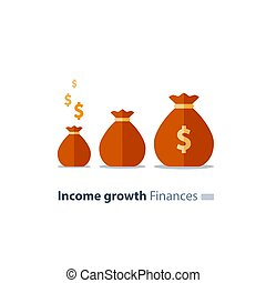Fundraising concept, future investment, time is money, pension fund, superannuation finance, money bags, vector icon