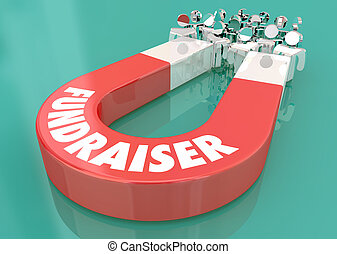 Fundraising Give Money Share Magnet Pulling People 3d Illustration