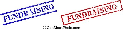 FUNDRAISING Grunge Rubber Seal Stamps with Rectangle Frame