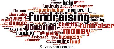 Fundraising word cloud concept. Vector illustration
