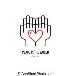Fundraising Label - Heart in hands - symbols for non-profit...