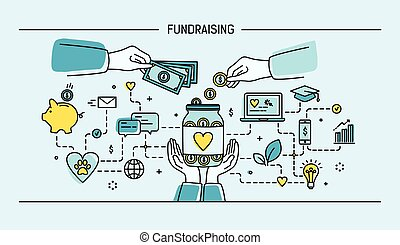 Fundraising. Line art flat vector illustration. Colorful. - ...