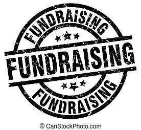 fundraising round grunge black stamp