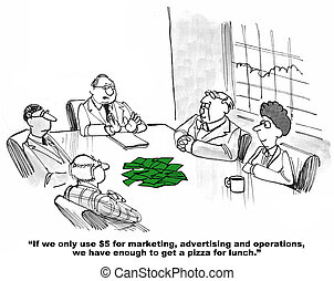 Business cartoon about allocating funds.