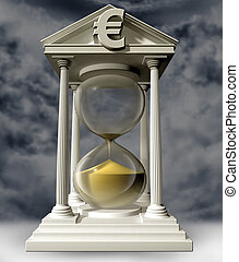 Funds running out - Illustration of a euro hourglass with...