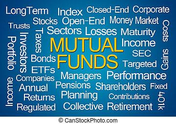 fundusze, wzajemny, słowo, chmura
