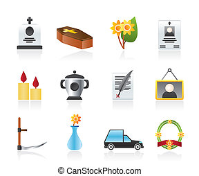 funeral and burial icons - vector icon set
