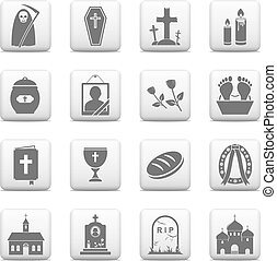 Funeral and burial icons - vector web buttons