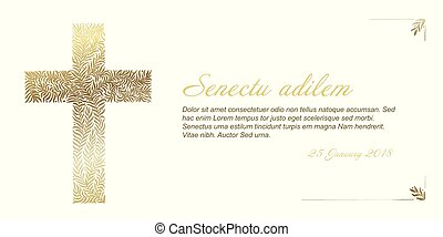 Funeral card template with golden cross made from leafs on...