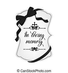 Funeral card, vector vintage condolence typography