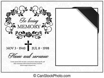 Funeral card, vintage condolence vector frame