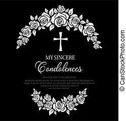 Funeral card with rose flowers wreath and cross.