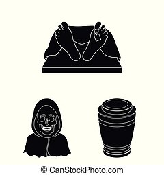Funeral ceremony black icons in set collection for design....