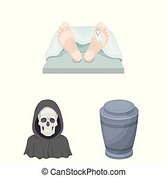 Funeral ceremony cartoon icons in set collection for design....