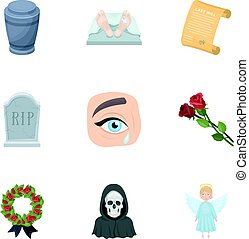 Funeral ceremony, cemetery, coffins, priest.Funeral ceremony icon in set collection on cartoon style vector symbol stock illustration.