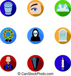 Funeral ceremony, cemetery, coffins, priest.Funeral ceremony icon in set collection on flat style vector symbol stock illustration.