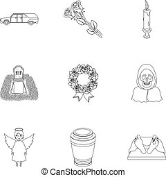 Funeral ceremony, cemetery, coffins, priest.Funeral ceremony icon in set collection on outline style vector symbol stock illustration.