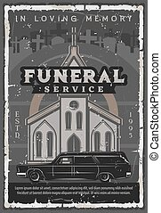 Funeral ceremony church, hearse car and tombstone