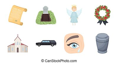 Funeral ceremony icons in set collection for design. Funerals and Attributes vector symbol stock web illustration.