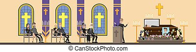 Funeral ceremony illustration - Funeral service in . People...