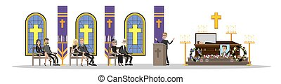 Funeral ceremony illustration - Funeral service. People in...