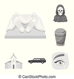 Funeral ceremony monochrome icons in set collection for...