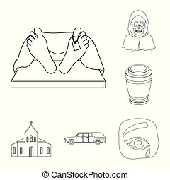 Funeral ceremony outline icons in set collection for design....