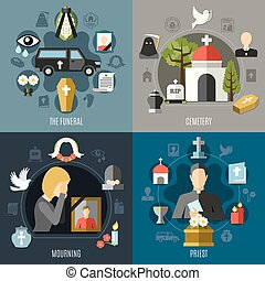 Funeral Concept Icons Set - Funeral concept icons set with...